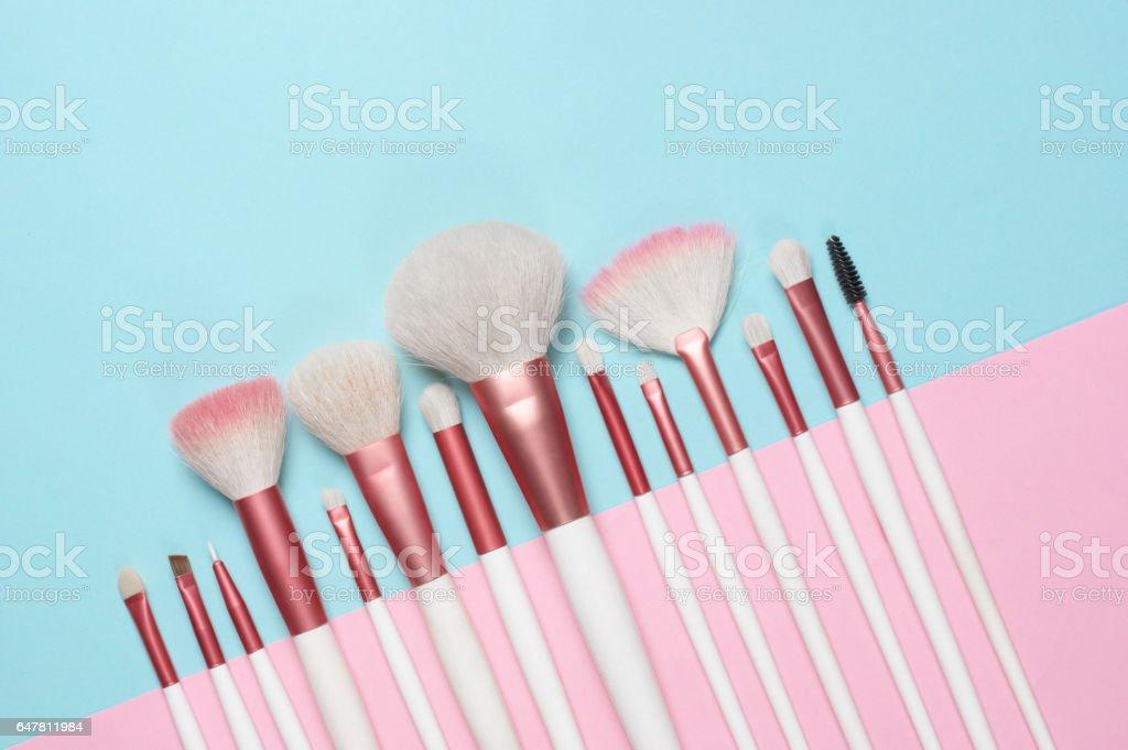 Conjunto de pincéis de maquiagem  - foto de acervo