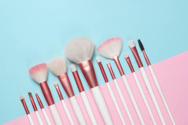 Makeup brushes set stock photo