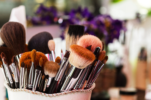 Makeup Brushes Workplace Makeup Artist Stock Photo - Download Image Now