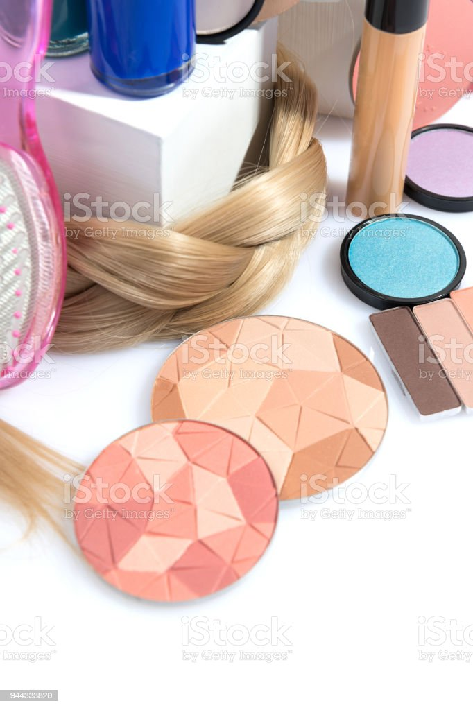 makeup compositions on white stock photo
