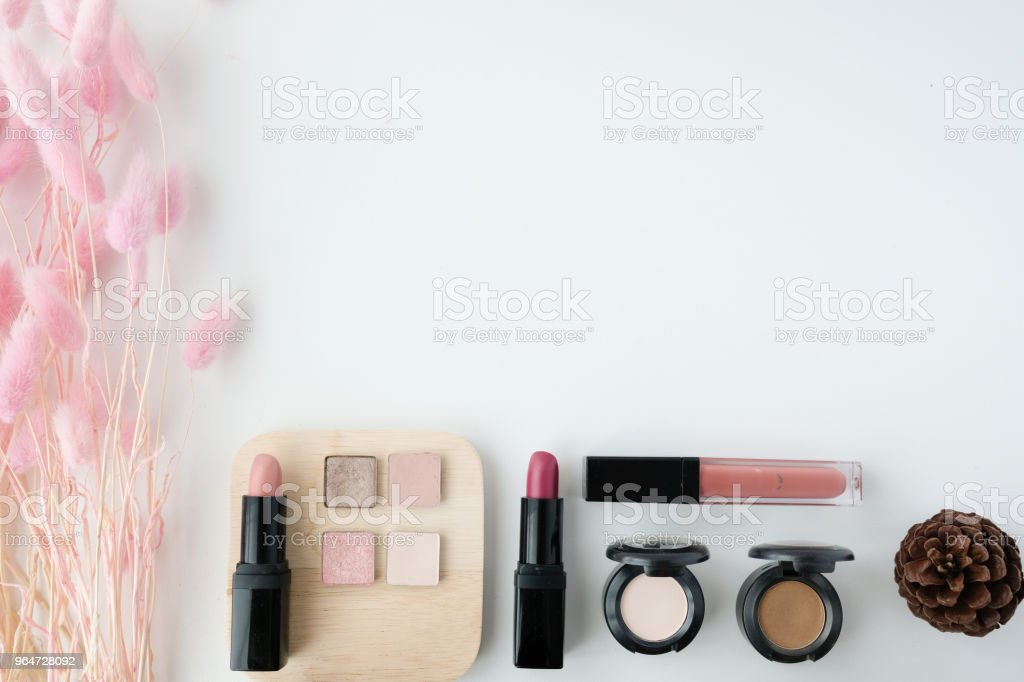 makeup cosmetic product. beauty fashion pink flat lay . royalty-free stock photo