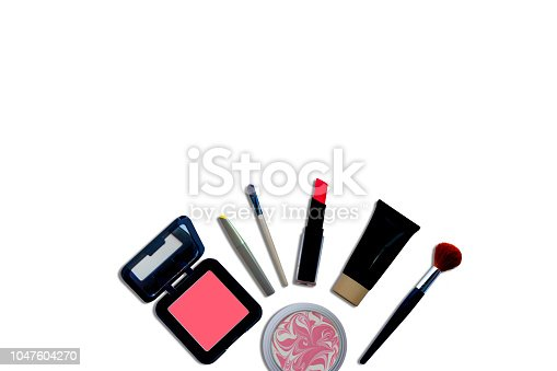 istock Makeup cosmetics background with free space for text 1047604270