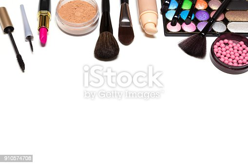 istock Makeup cosmetics background with free space for text 910574708