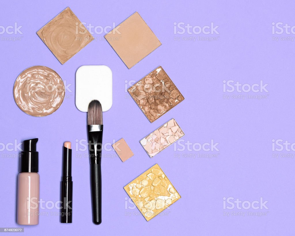 Makeup cosmetics for perfect complexion with copy space stock photo