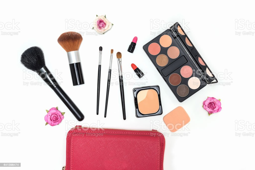 Makeup cosmetics palette and brushes on white background stock photo