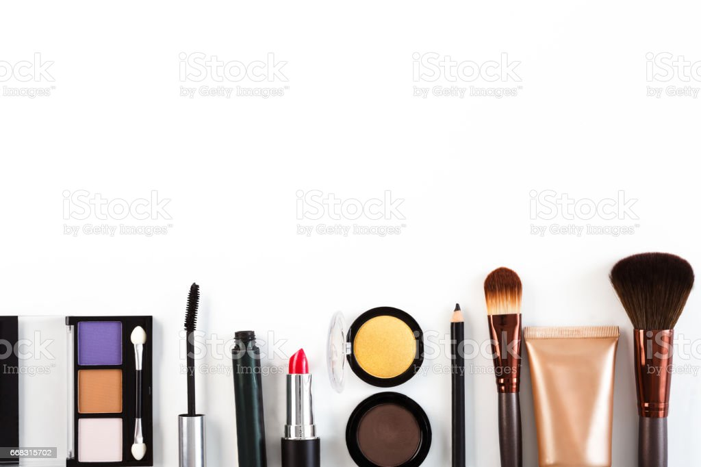 Makeup cosmetics tools and essentials background, copy space stock photo