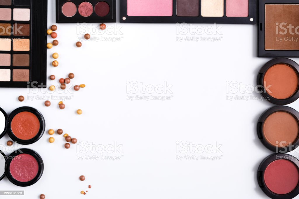 Makeup Cosmetics Tools And Essentials Frame Background Copy Space ...
