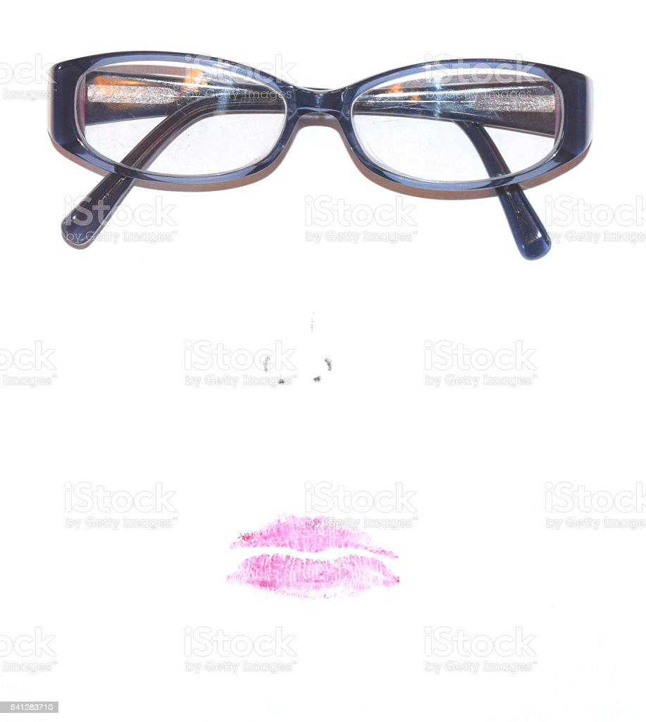 Makeup Face Lipstick Glasses Eyeliner Nose White Background Isolated