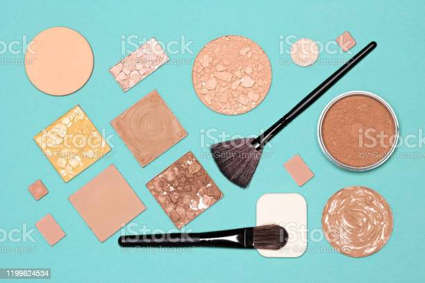 Makeup flatlay makeup foundation concealer powders with brushes and picture id1199624534?b=1&k=6&m=1199624534&s=612x612&h=zoieywvfxrdj6njkyaax3onpszhhnmealsdiwalbkle=