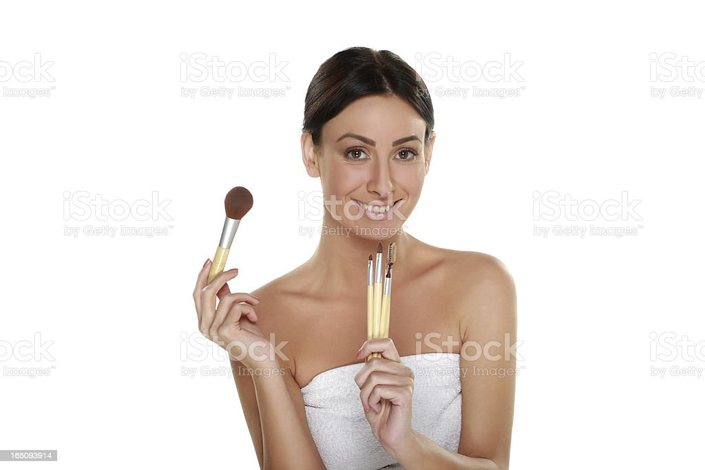 Make-up girl with brushes royalty-free stock photo