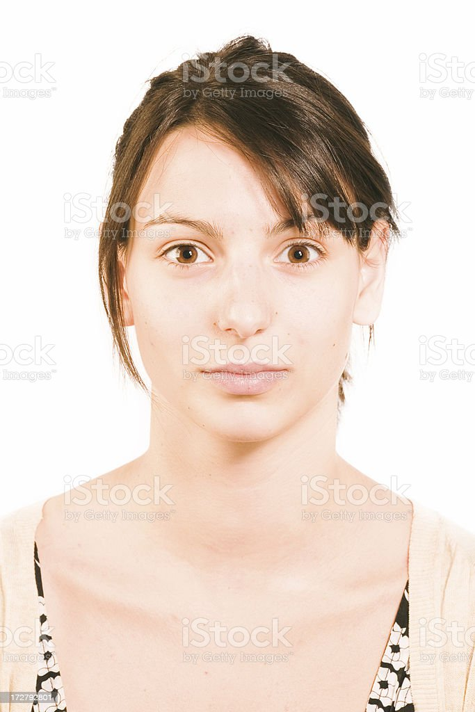 make-up instrusction - before royalty-free stock photo