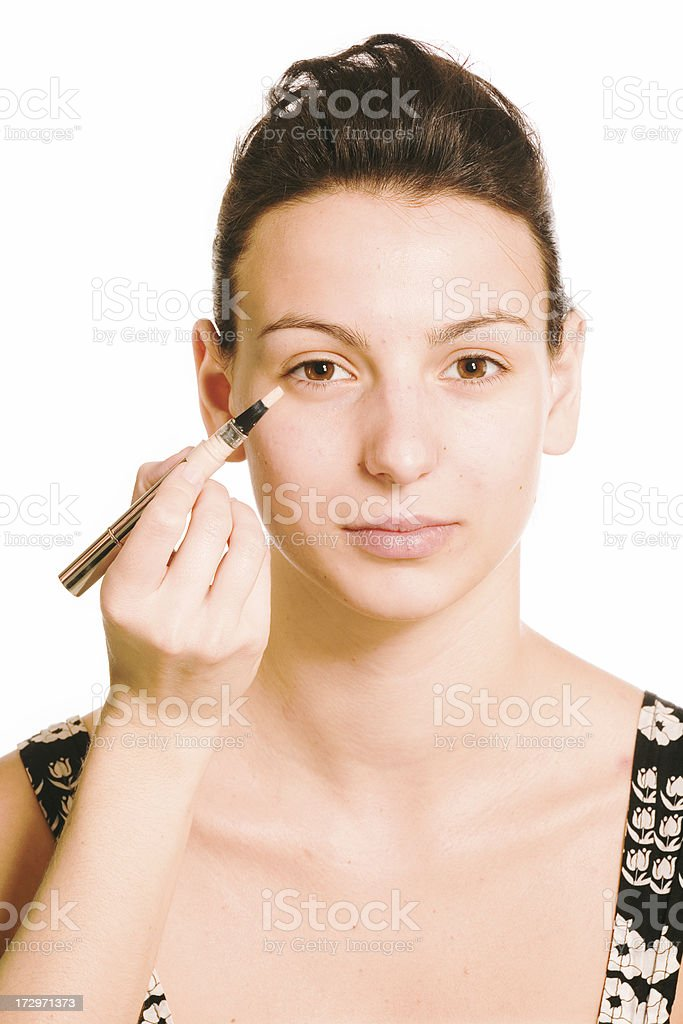 make-up instrusction - concealer royalty-free stock photo