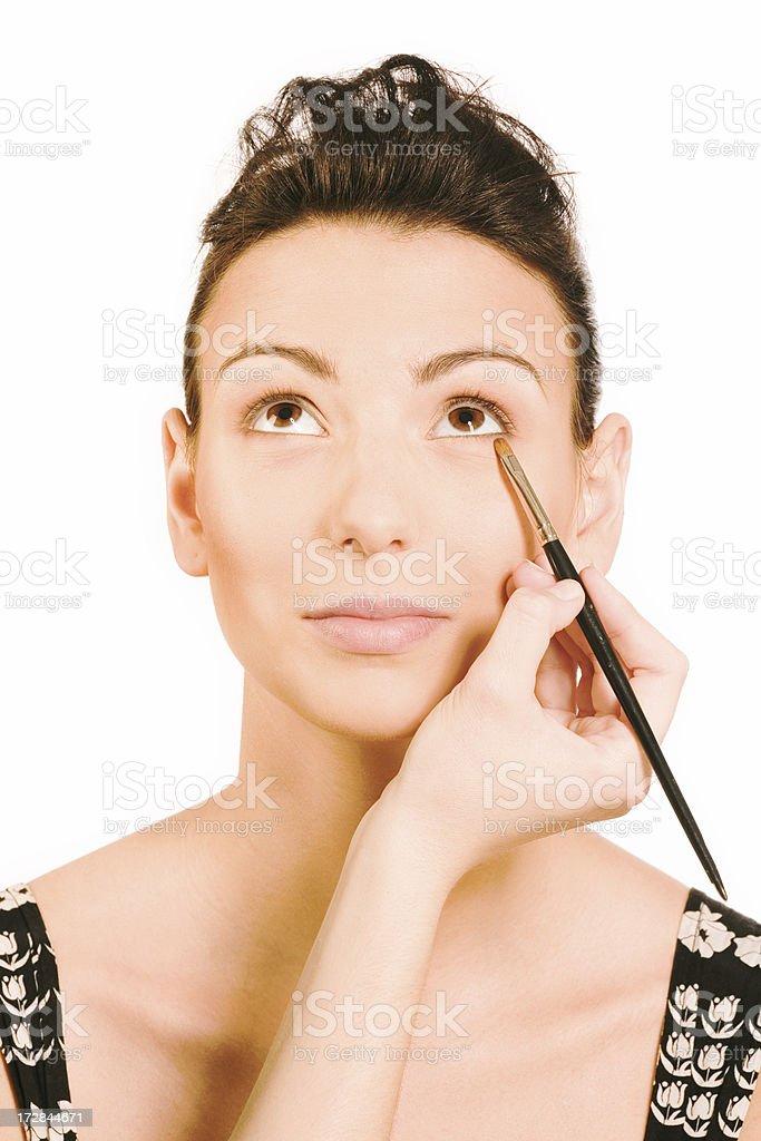 make-up instrusction - eyeshadow stock photo