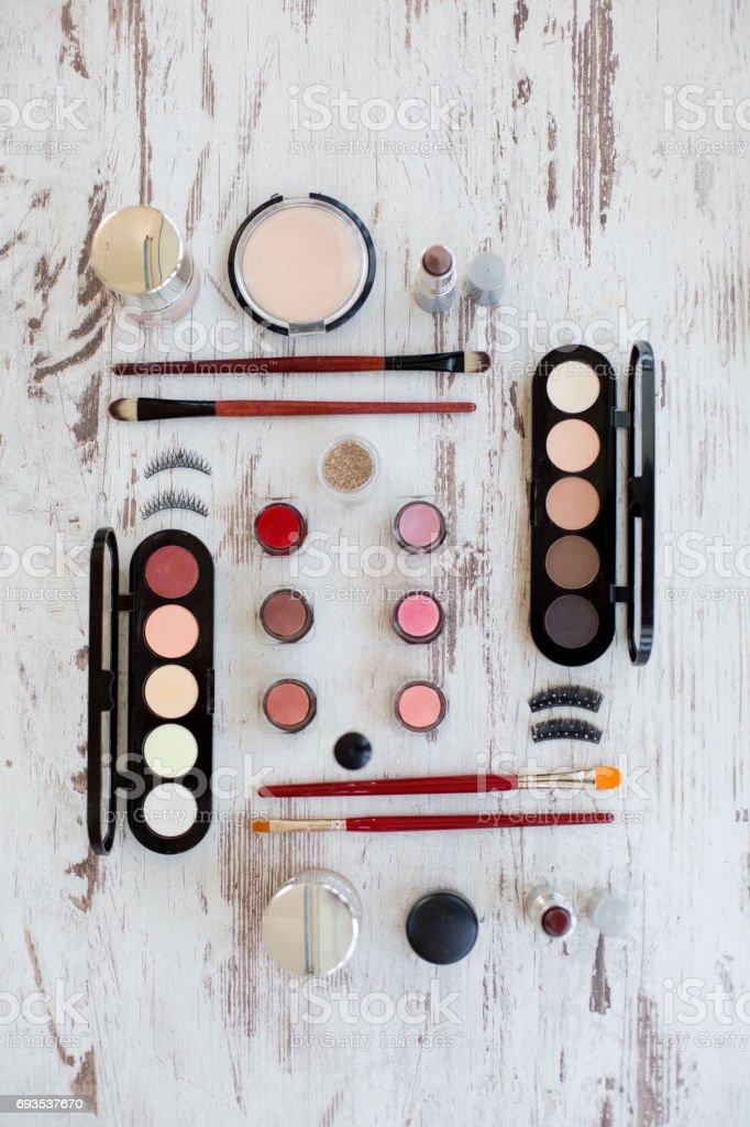 Makeup - knolling stock photo