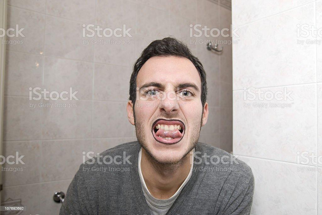 makeup man who smiles stock photo