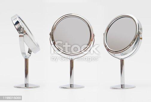 Makeup mirror on white background