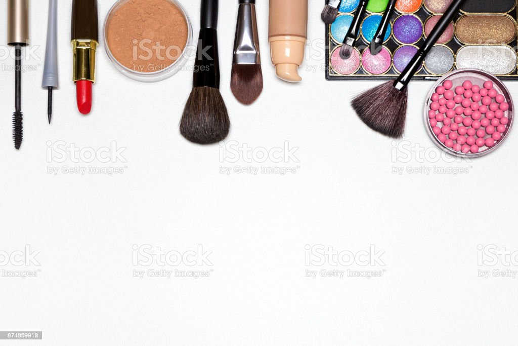 Makeup must haves for modern woman background stock photo