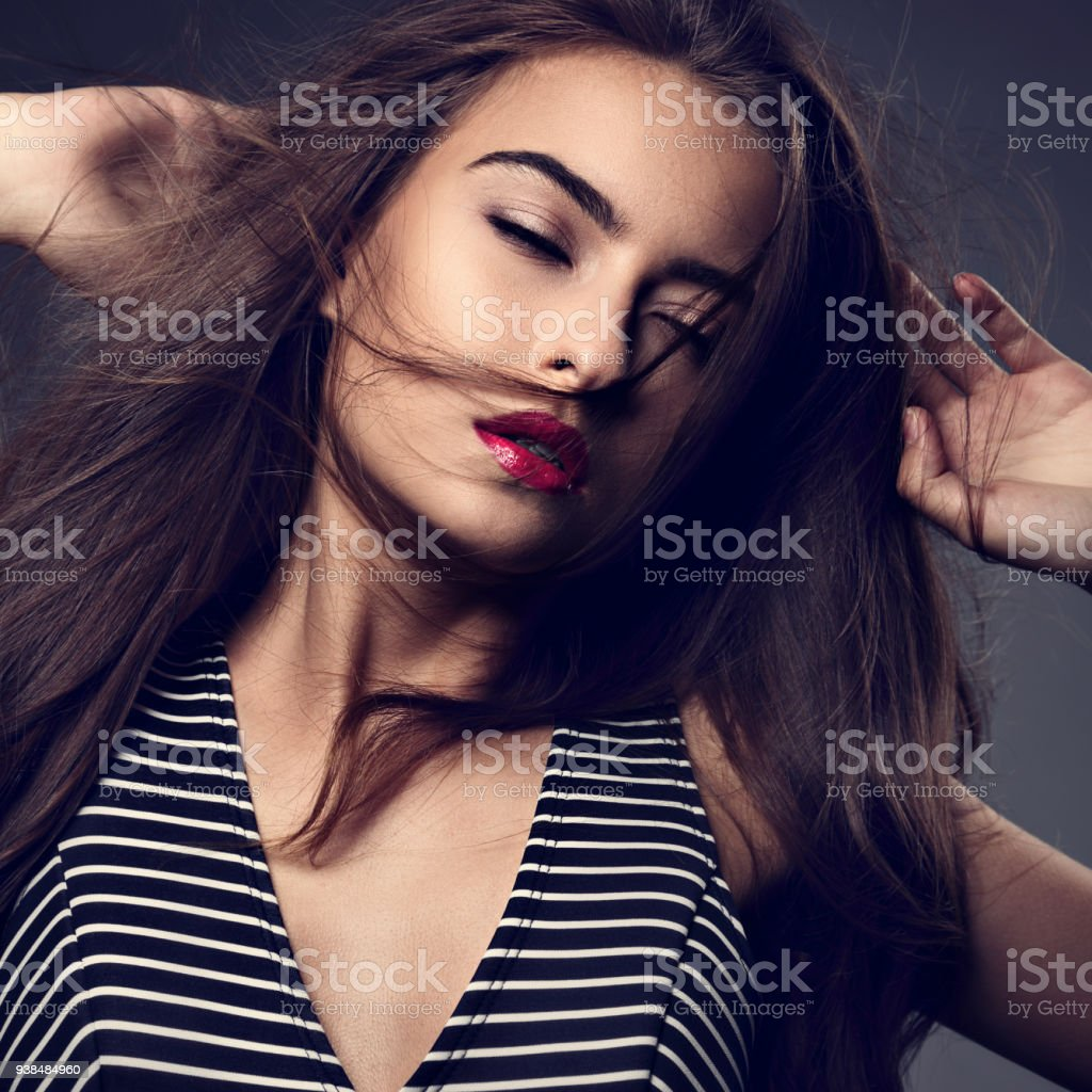 Makeup Mystic Indian Woman With Long Hair Pink Lipstick With Wind