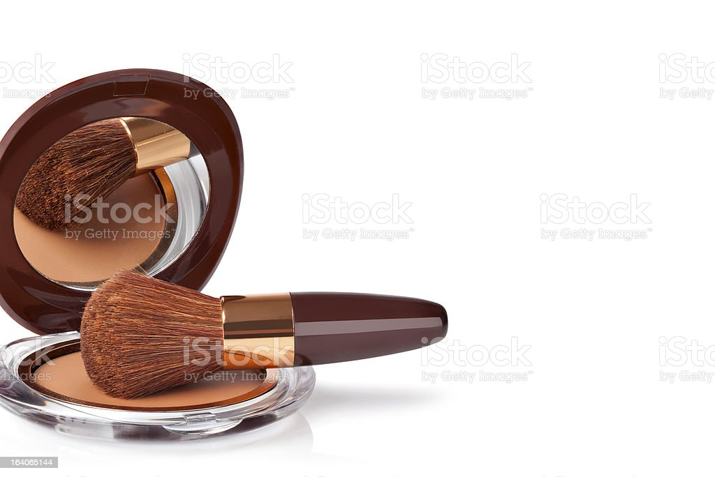 Makeup Powder and Brush royalty-free stock photo