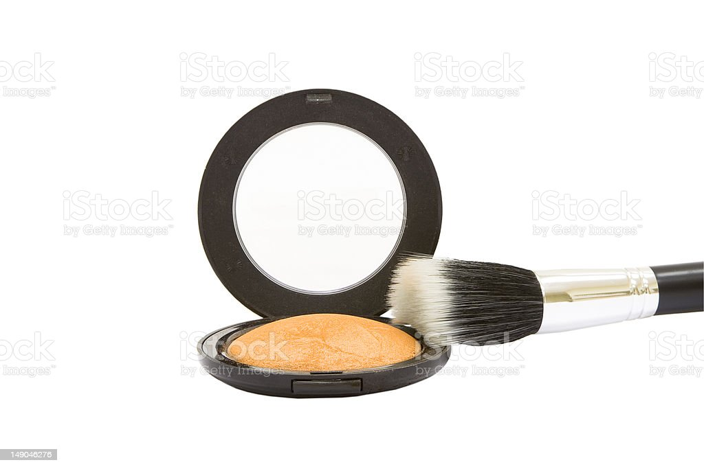Make-up powder compact with brush isolated royalty-free stock photo