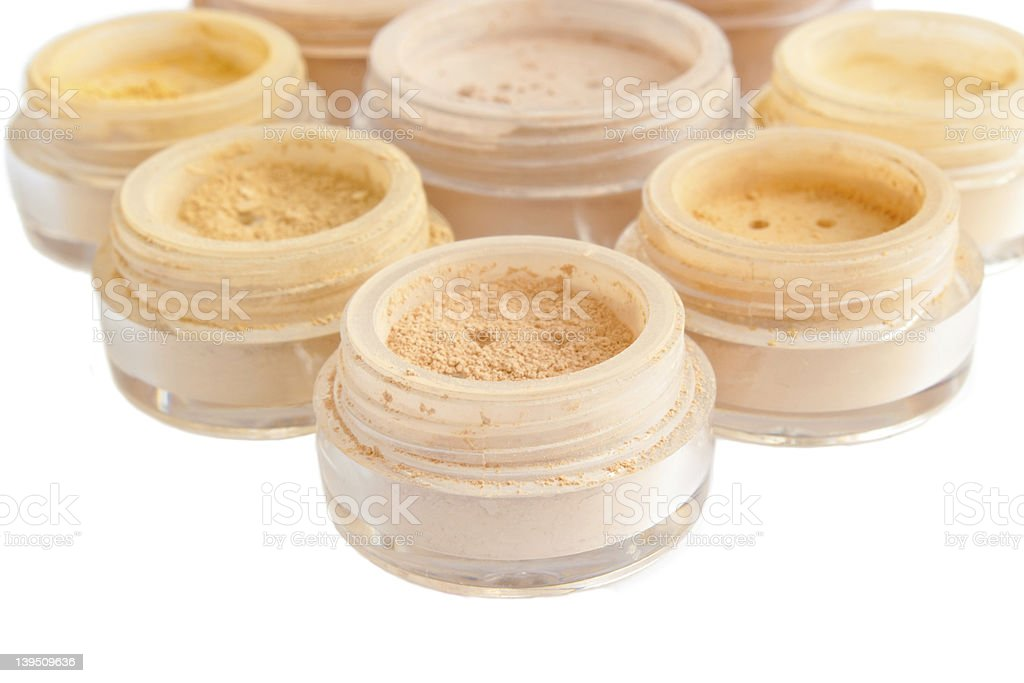 makeup powder, eye shadows, blush, foundation royalty-free stock photo