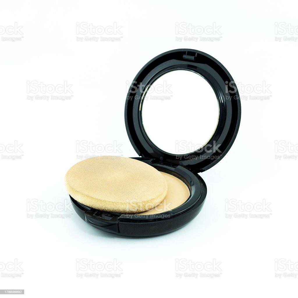 Make-up powder in box and make up brush royalty-free stock photo