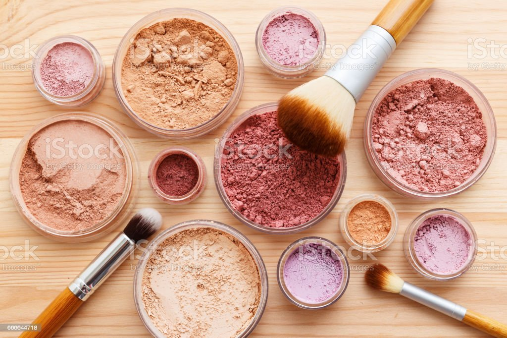 Makeup powder product flat lay stock photo