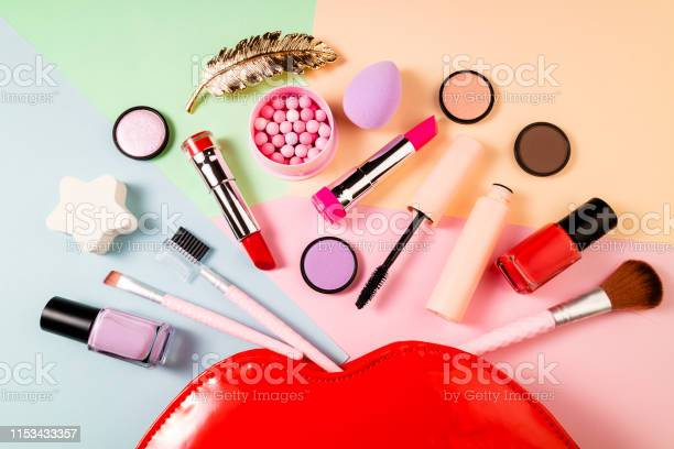 Makeup Products And Decorative Cosmetics On Color Background Fashion And Beauty Concept Fashion Feminine Background Stock Photo Download Image Now Istock