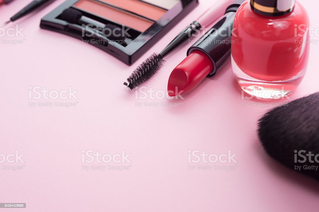 Make-up products and tools stock photo