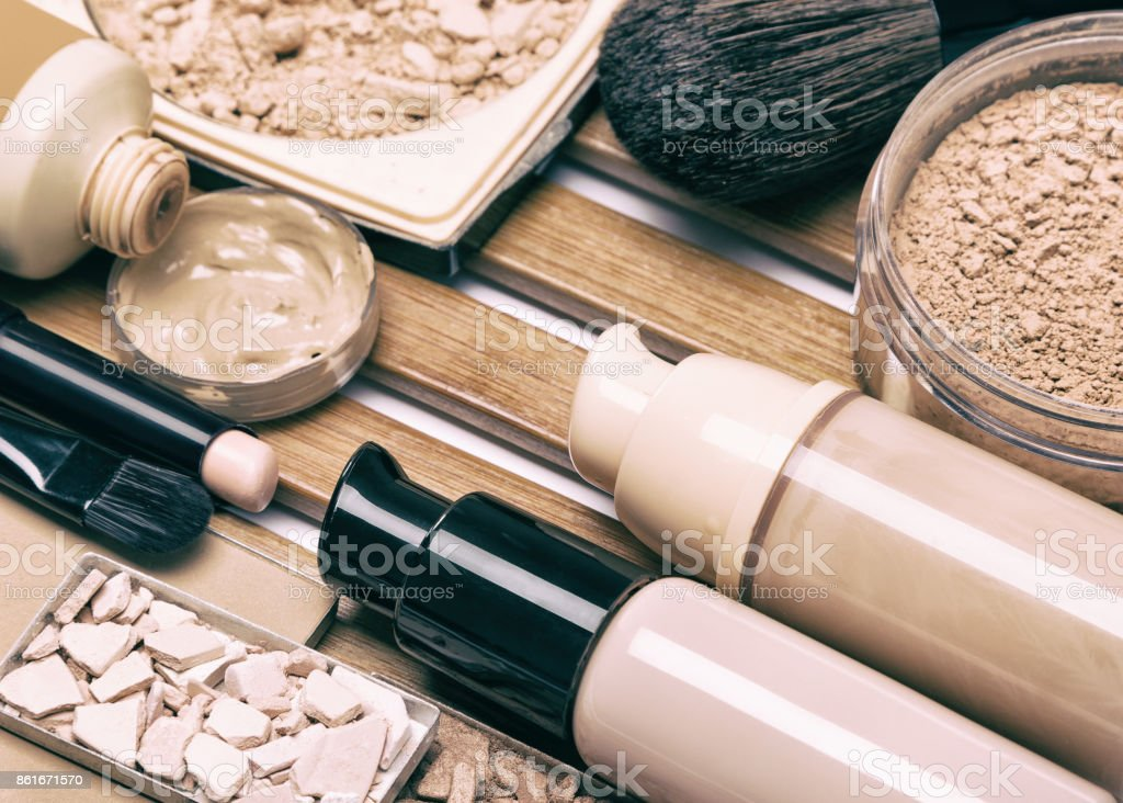 Makeup products for perfect complexion stock photo