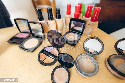 Multi colored makeup products