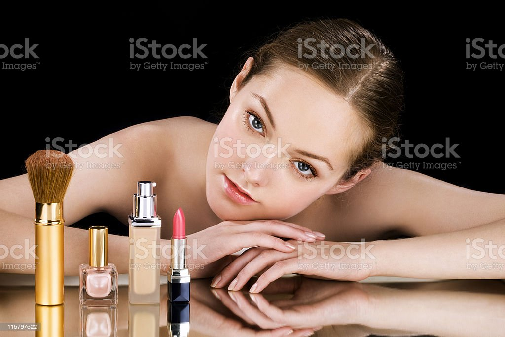 Makeup products royalty-free stock photo