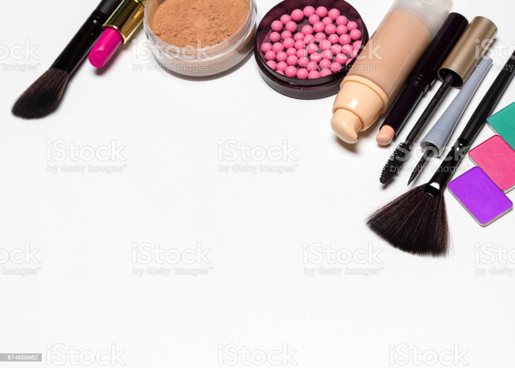 Make-up products set with copy space stock photo