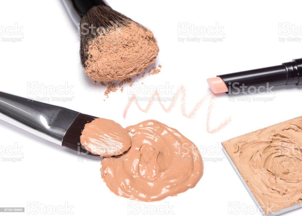 Makeup products to create beautiful skin tone stock photo
