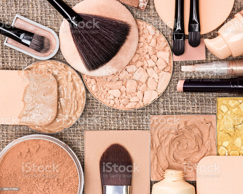 Makeup products to create the perfect complexion stock photo