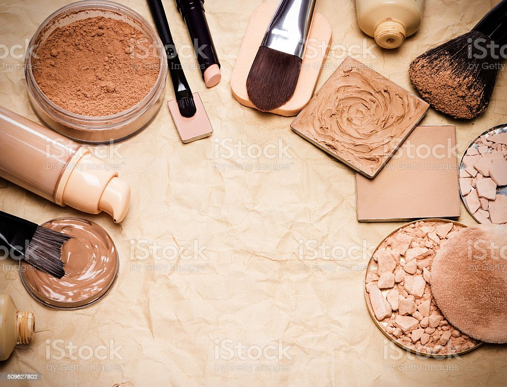 Makeup products to even out skin tone and complexion frame stock photo