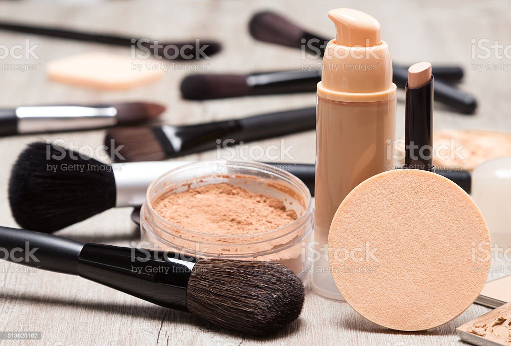 Makeup products to even out skin tone and complexion stock photo