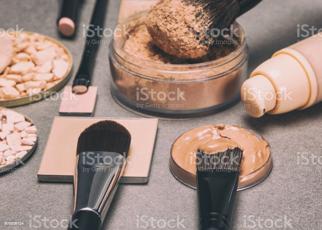 Makeup products to even skin tone and complexion stock photo