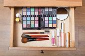 makeup set in open drawer