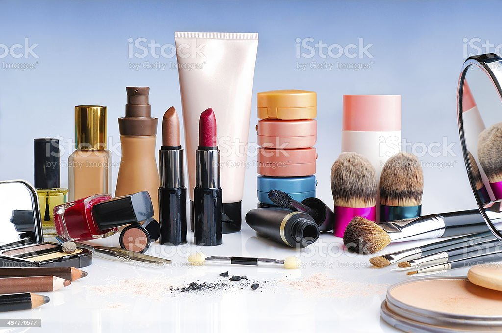 makeup set on table front view stock photo