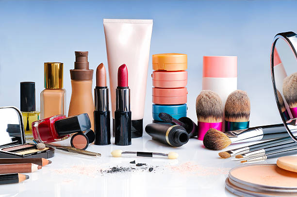 makeup set on table front view makeup set on glass table front view ceremonial make up stock pictures, royalty-free photos & images