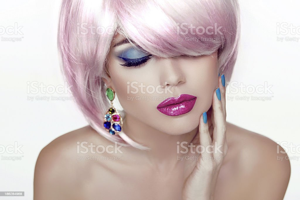 Makeup. Sexy lips. Beauty Girl Portrait with Colorful Makeup, royalty-free stock photo
