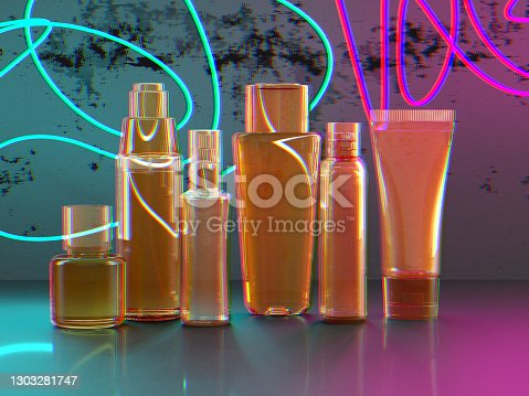 Blank transparent cosmetic packaging and glass tubes mockup on neon background