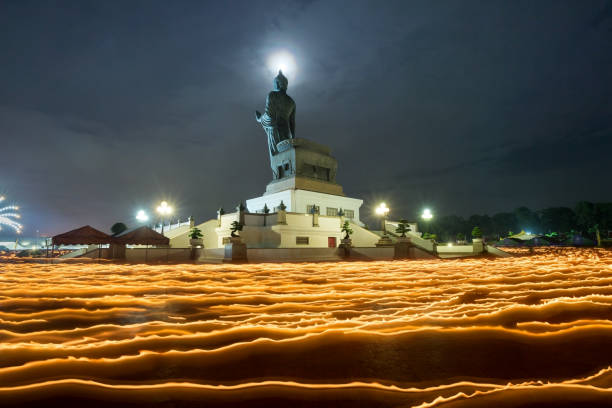 makha bucha day thailand - makha bucha stock photos and pictures