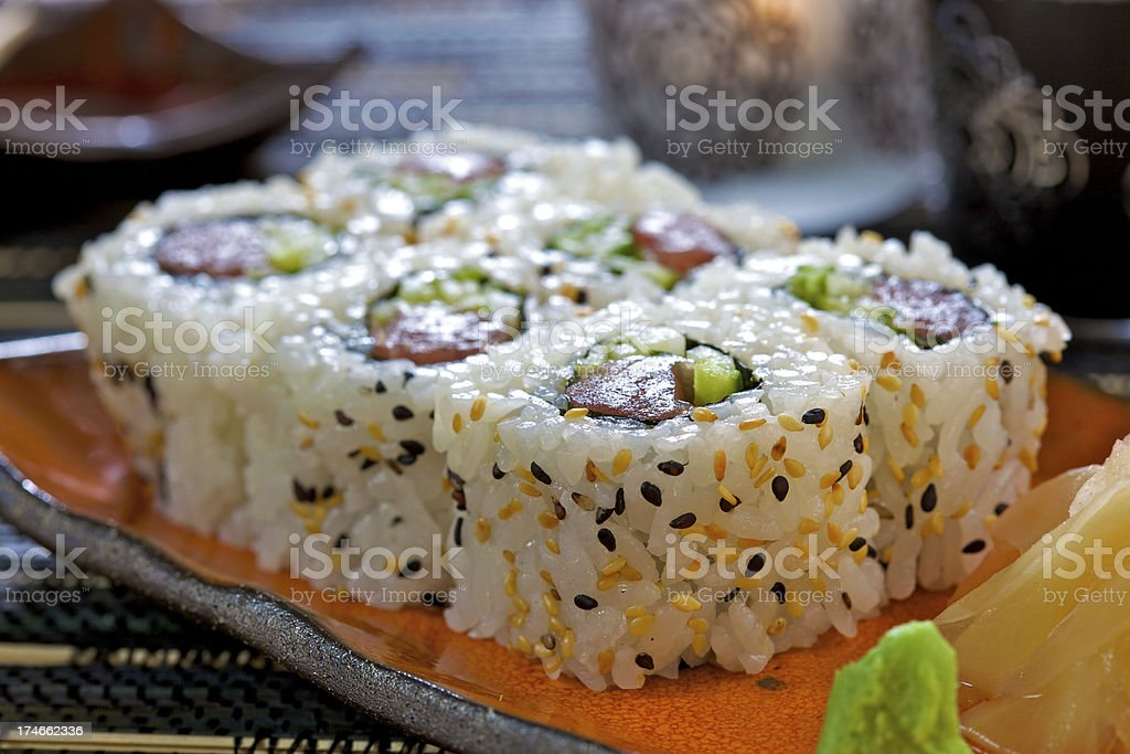 Maki inside out with tuna royalty-free stock photo