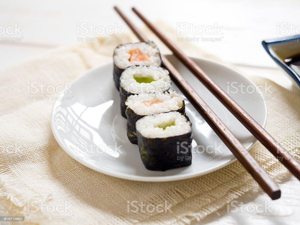 Maki on a plate stock photo