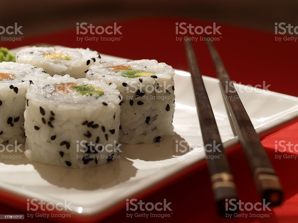 Maki Sushi Inside Out royalty-free stock photo