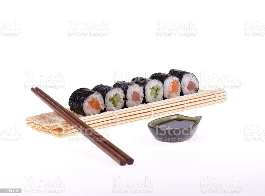 maki sushi on white background royalty-free stock photo