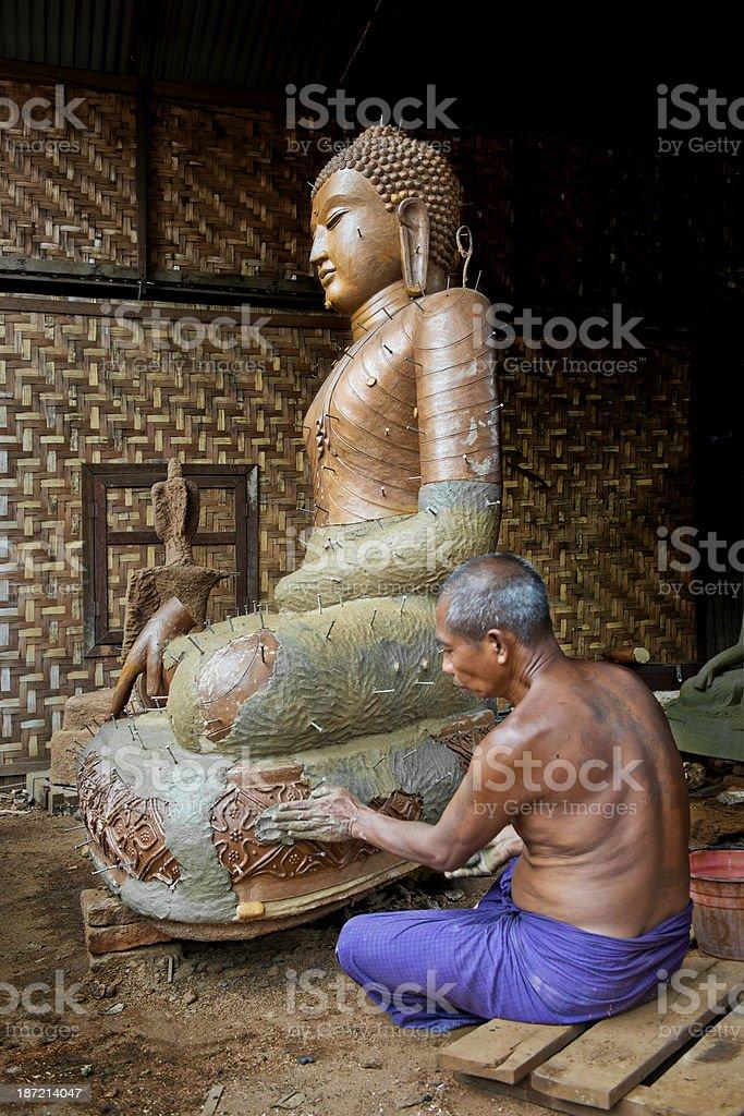 Making a Bronze Sitting Buddha royalty-free stock photo