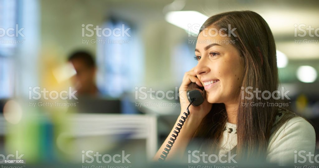 making a call from the office stock photo
